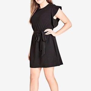 City chic black flutter sleeve mini dress s E